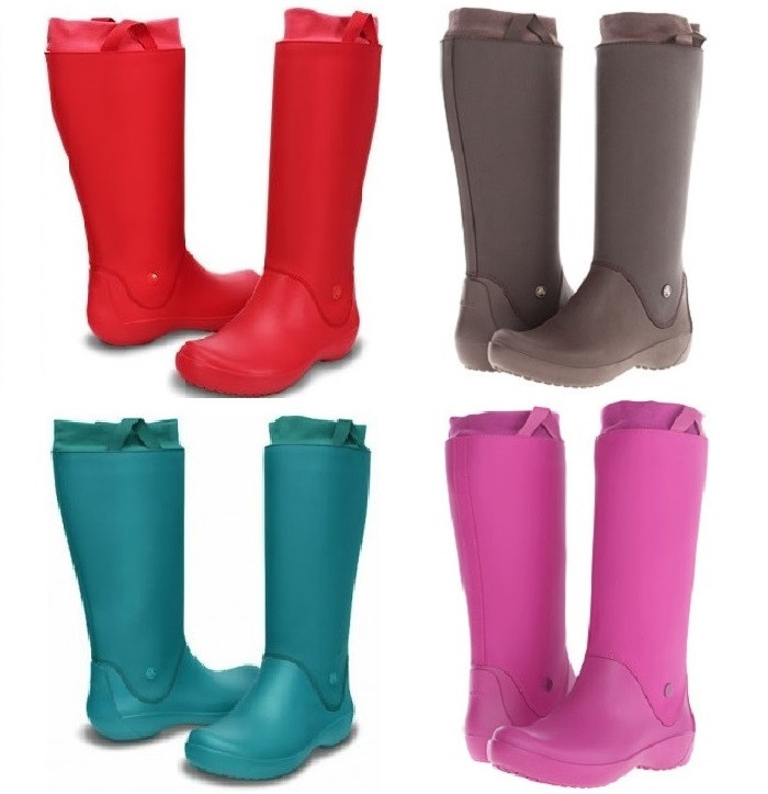 Сапоги резиновые женские высокие мягкие с манжетом Crocs Women's RainFloe Boot / дождевики
