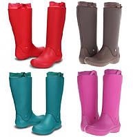 Сапоги резиновые женские высокие мягкие с манжетом Crocs Women's RainFloe Boot / дождевики, фото 1