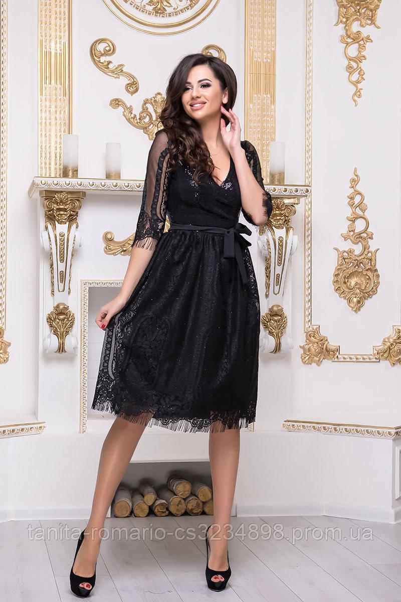 Коктейльное платье 8196e Чёрный S(р)