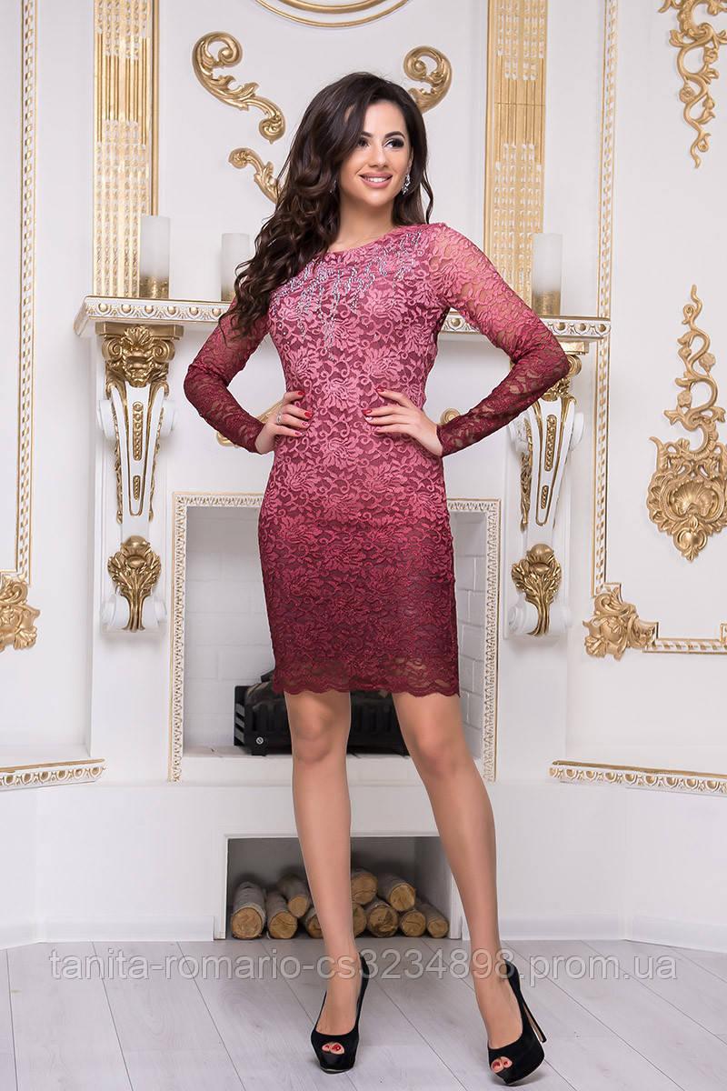 Коктейльное платье 8212e Бордо S M L