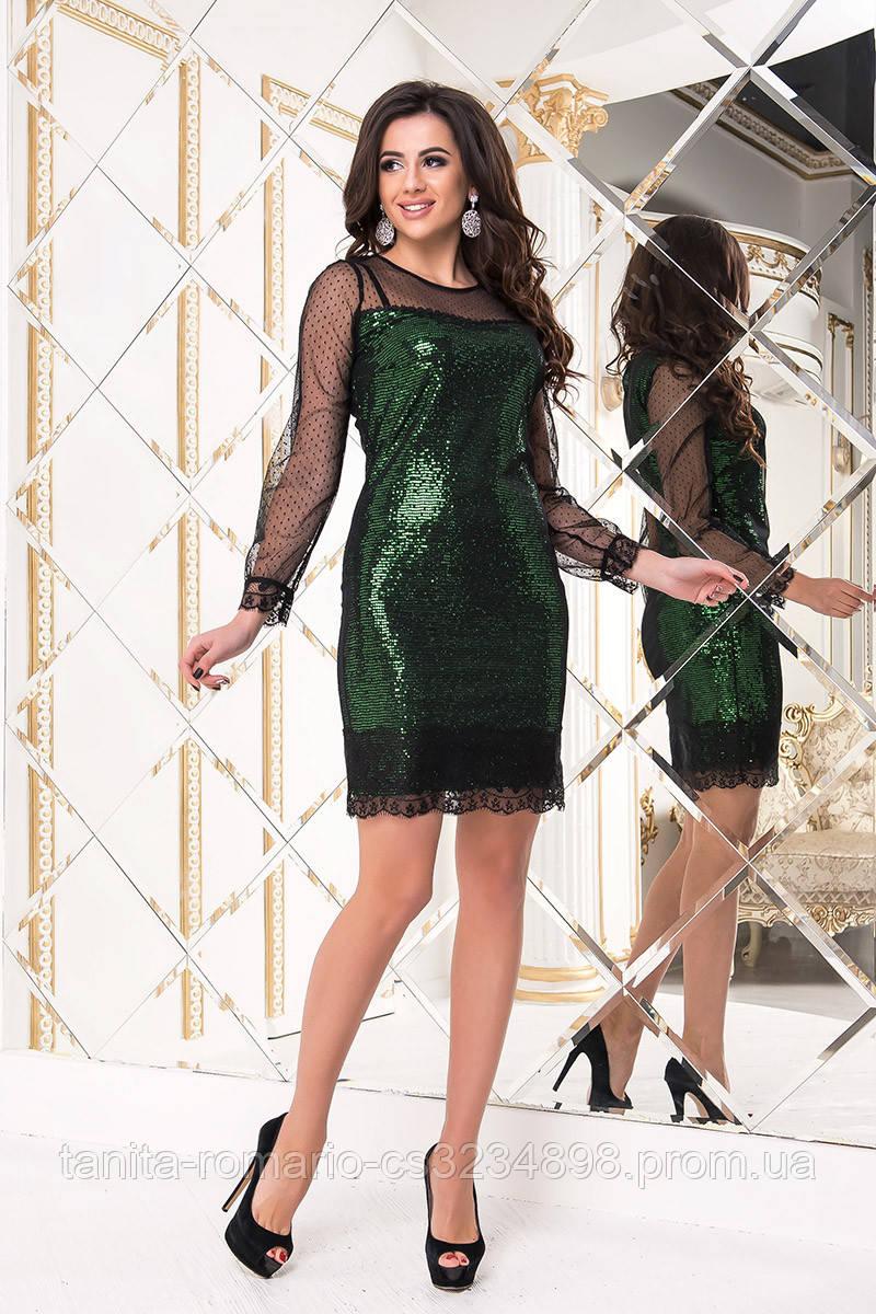 Коктейльное платье 8218e Зелёный L(р)