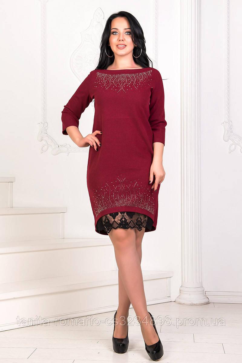 Коктейльное платье 7285e batal Бордо 2XL XL