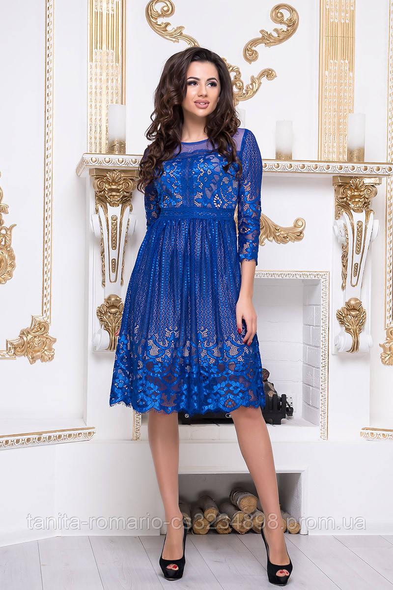 Коктейльное платье 8137e Электрик M(р)