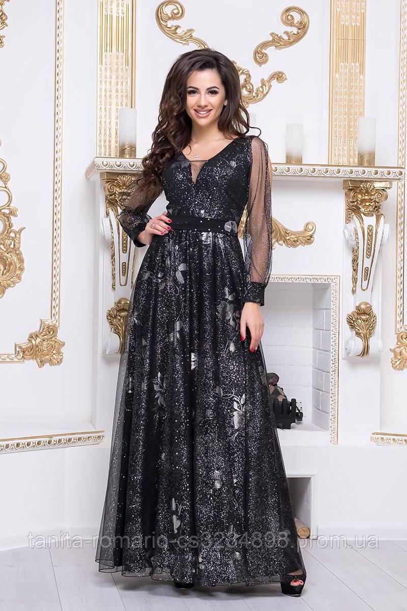 Вечернее платье 8193e Серебро/цветок S(р)