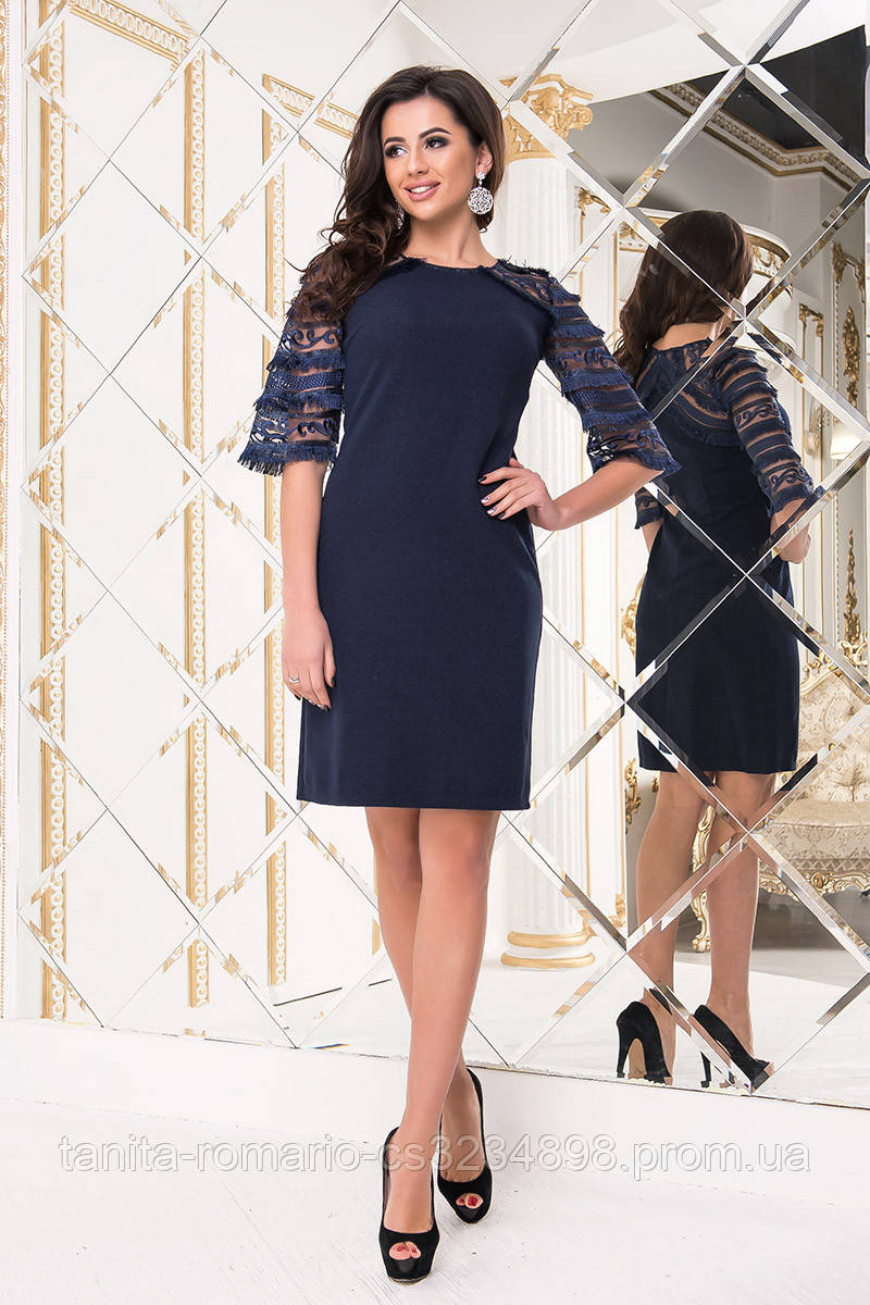 Коктейльное платье 8226e Синий S M L