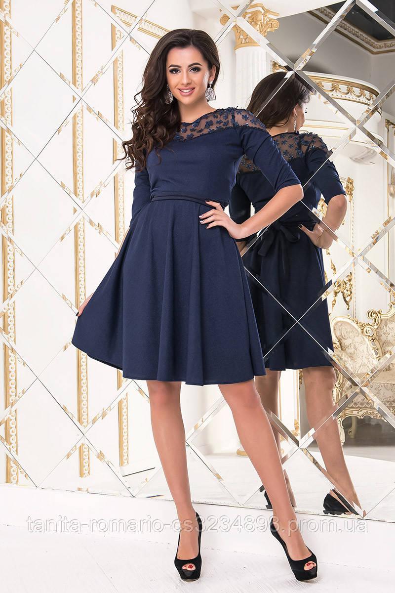 Коктейльное платье 8224e Синий S M L