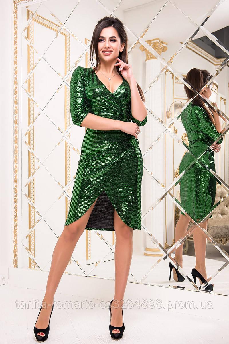 Коктейльное платье 8228e Зелёный S M L