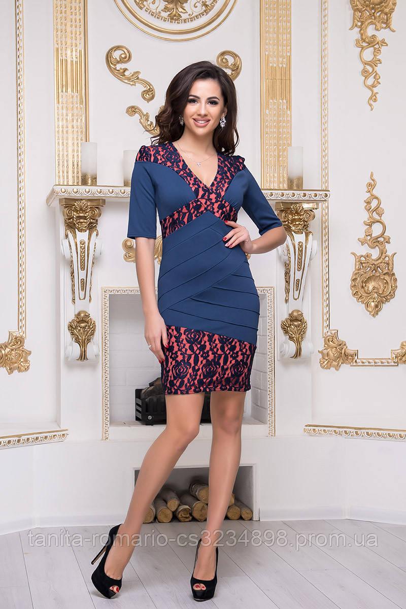 Повседневное платье 3236e Синий/коралловый L(р)