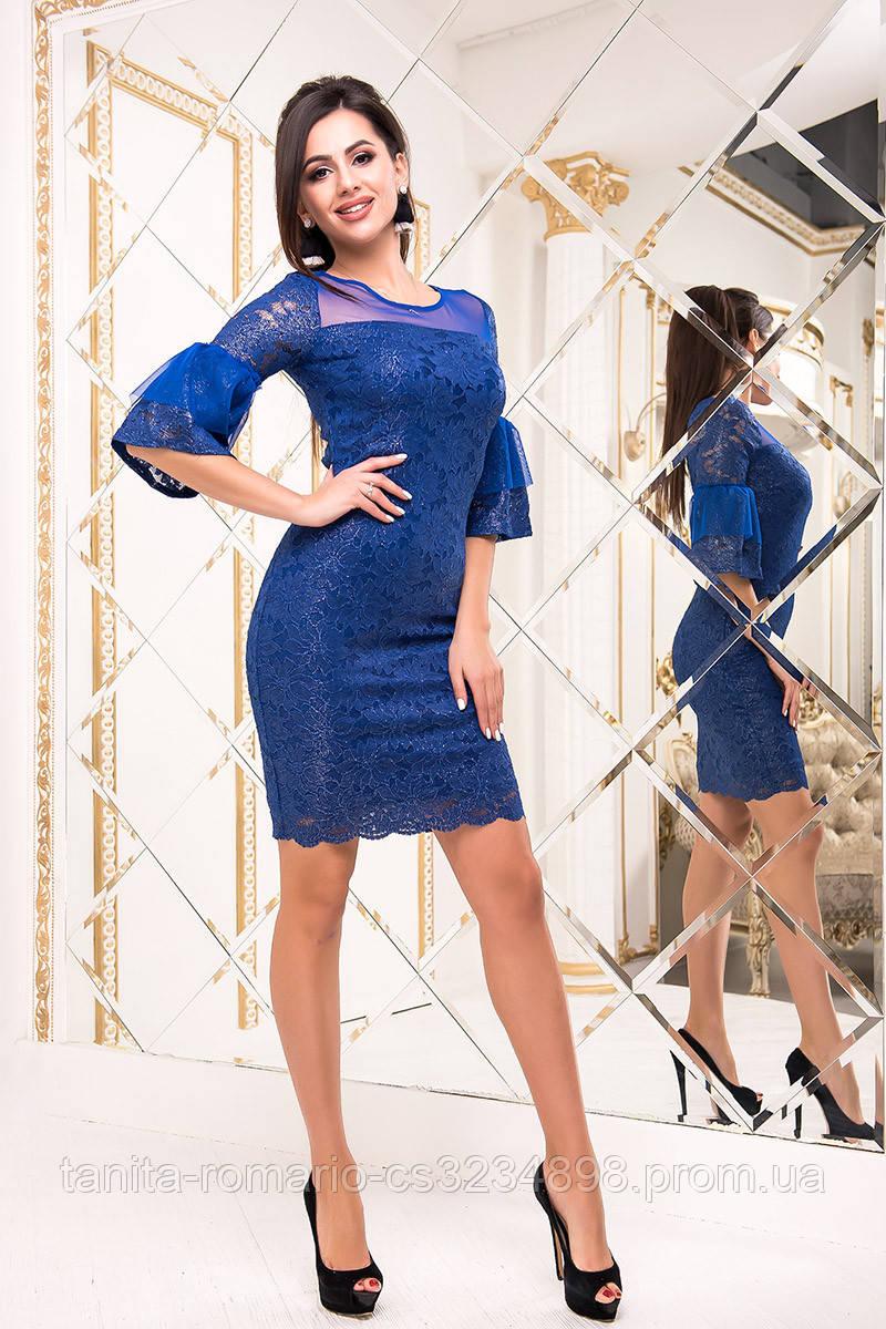 Коктейльное платье 8208e Электрик S M L