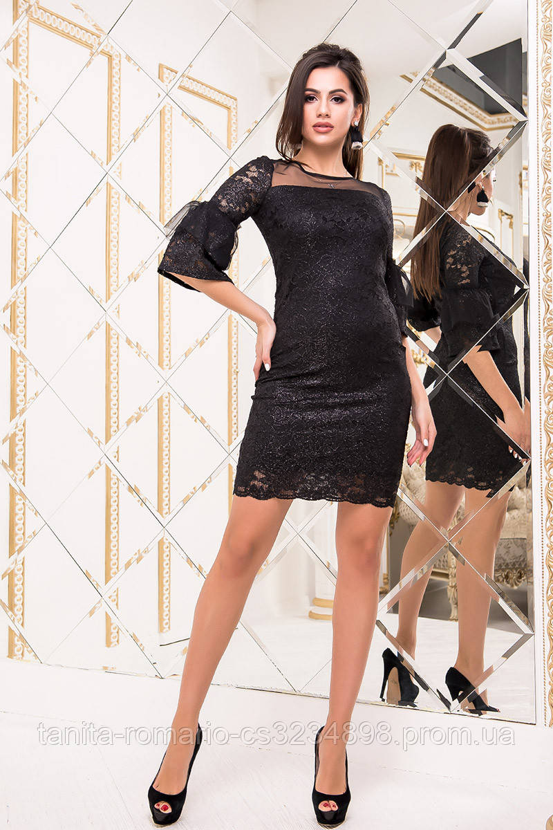 Коктейльное платье 8208e Чёрный/серебро S M L