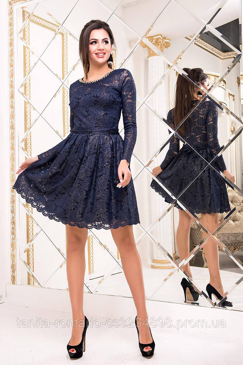Коктейльное платье 8234e Синий/золото L(р)