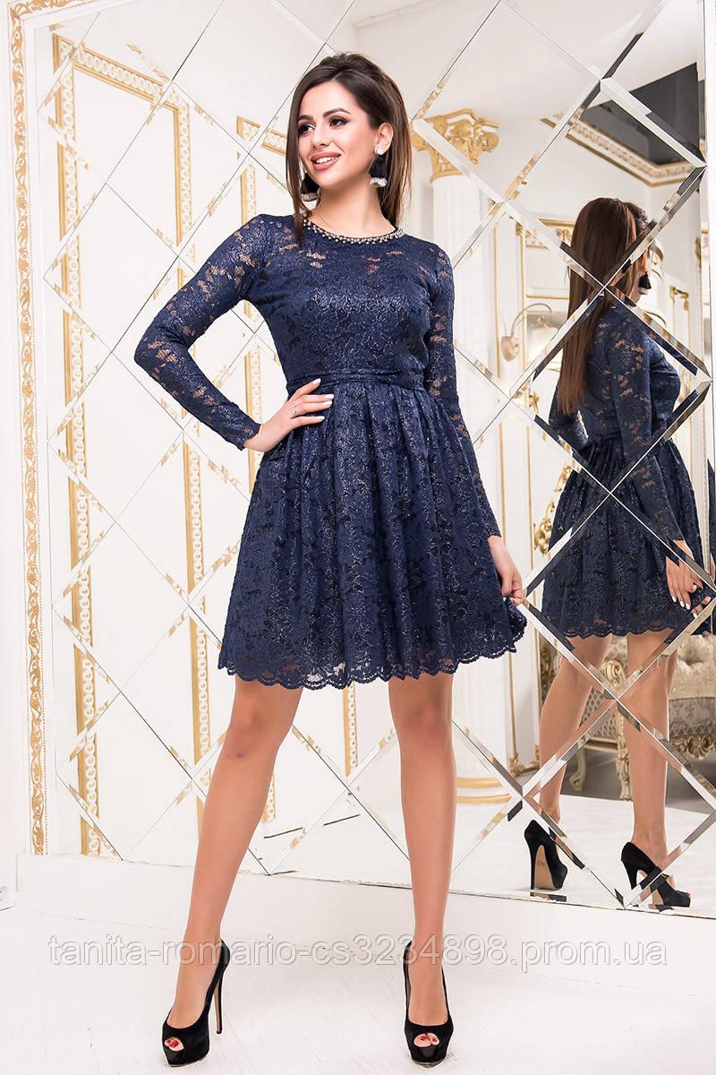Коктейльное платье 8234e Синий/серебро M(р)