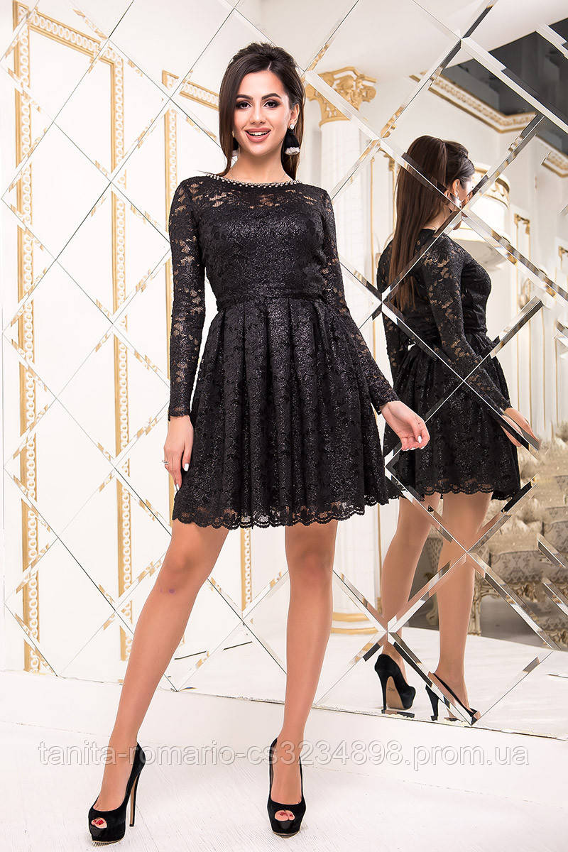 Коктейльное платье 8234e Чёрный/серебро L(р)