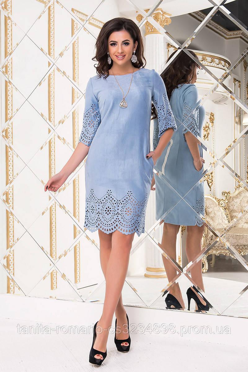 Повседневное платье 6182e Голубой L(р)