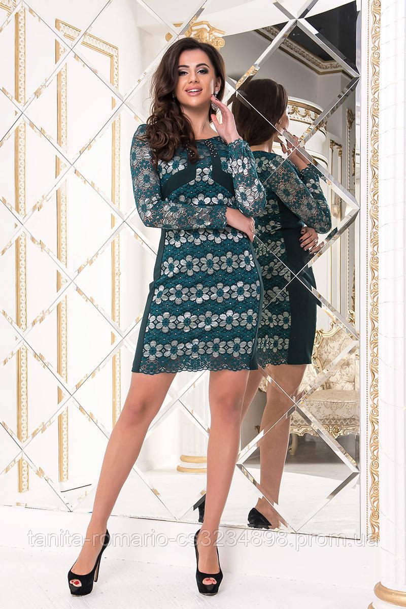 Коктейльное платье 8186e Изумруд/золото L(р)