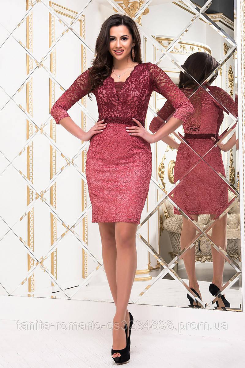 Коктейльное платье 8239e Бордо S M L