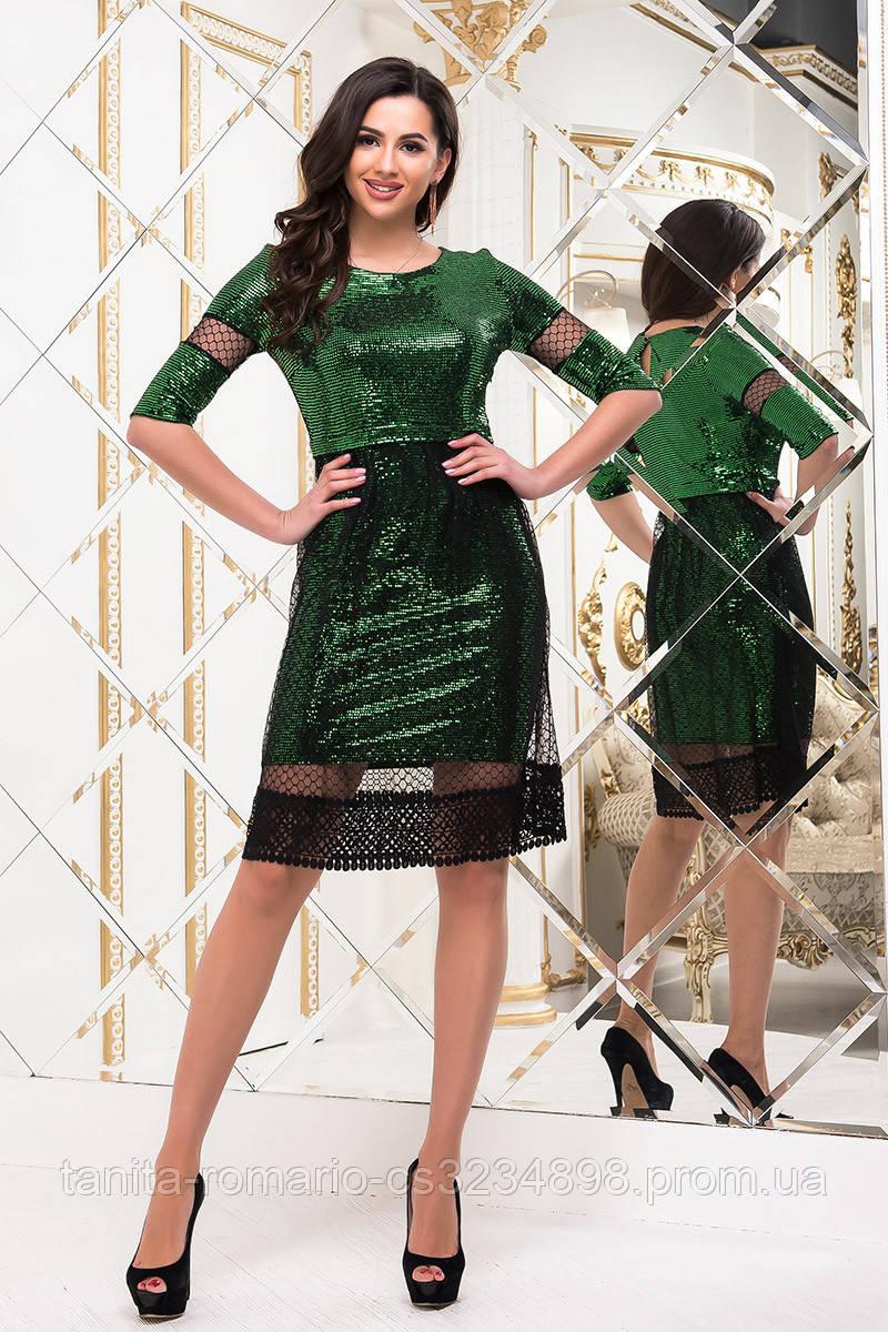 Коктейльное платье 8242e Зелёный S M L
