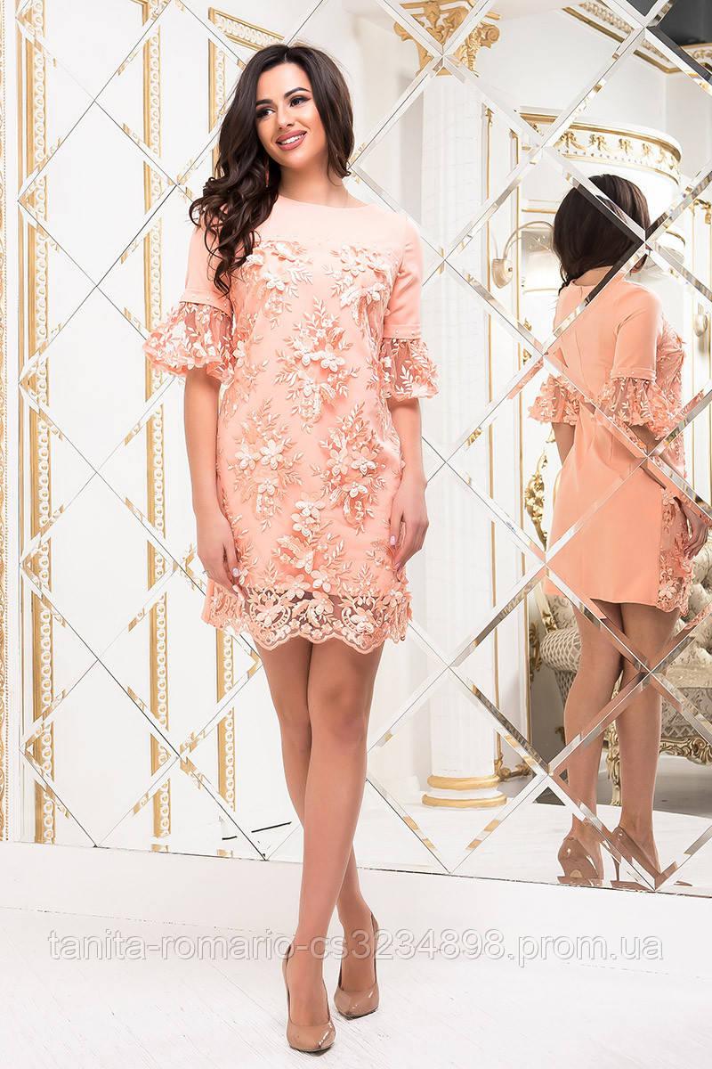 Коктейльное платье 8127e Персиковый L(р)