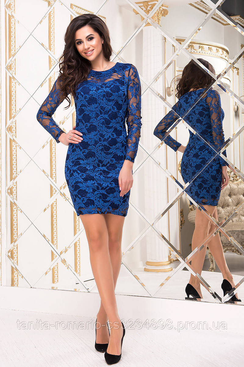 Коктейльное платье 8201e Электрик S M L