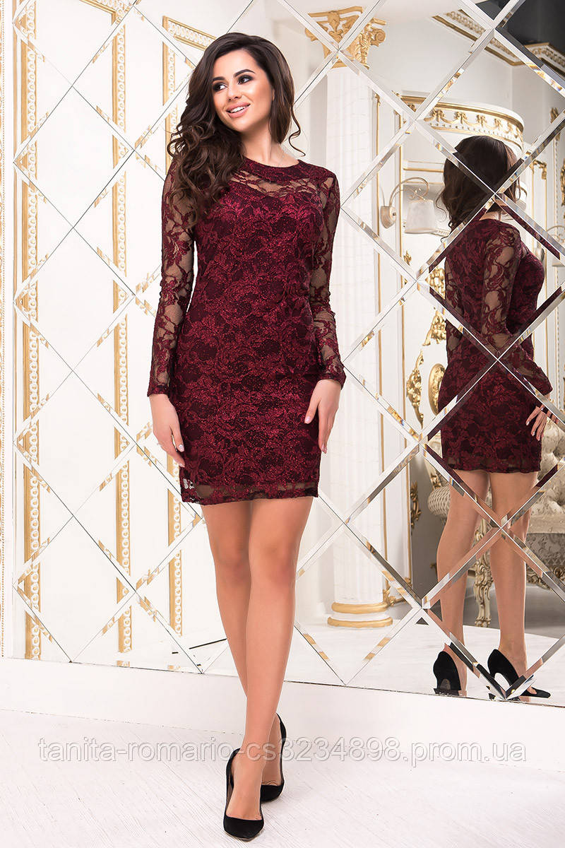 Коктейльное платье 8201e Бордо S M L