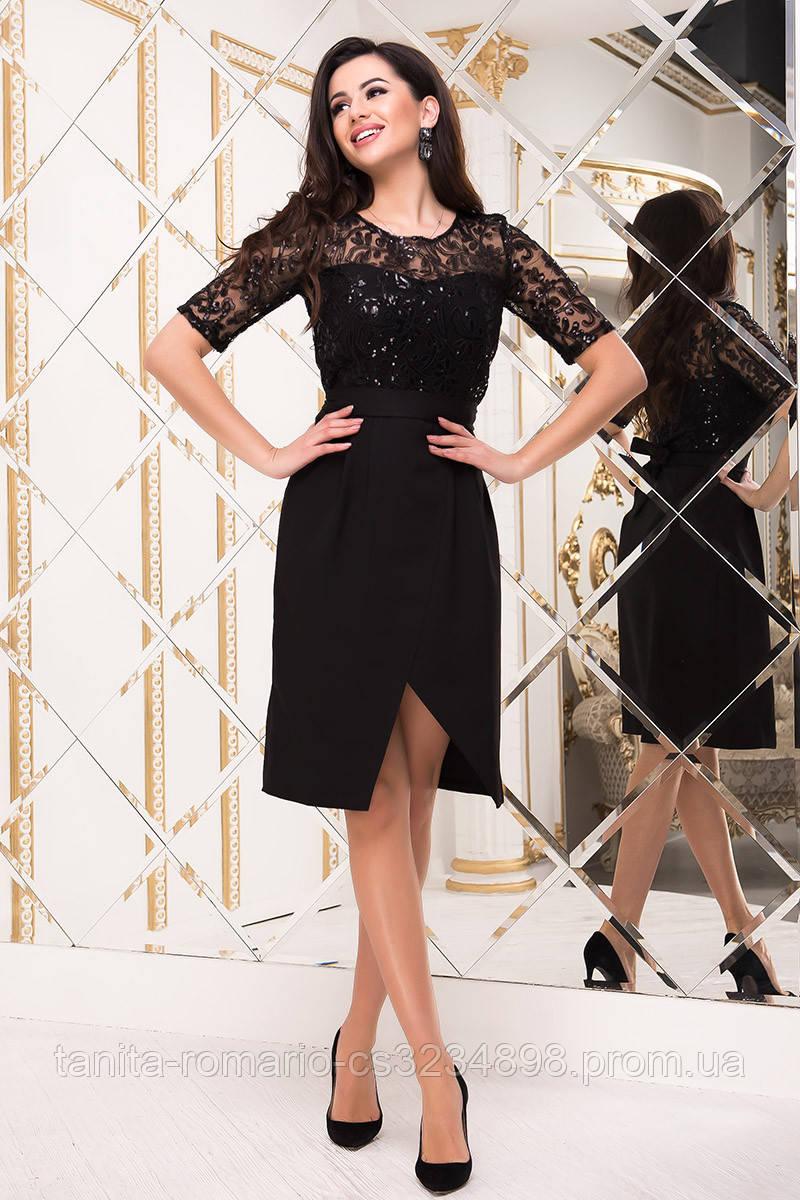 Коктейльное платье 8254e Чёрный S(р)