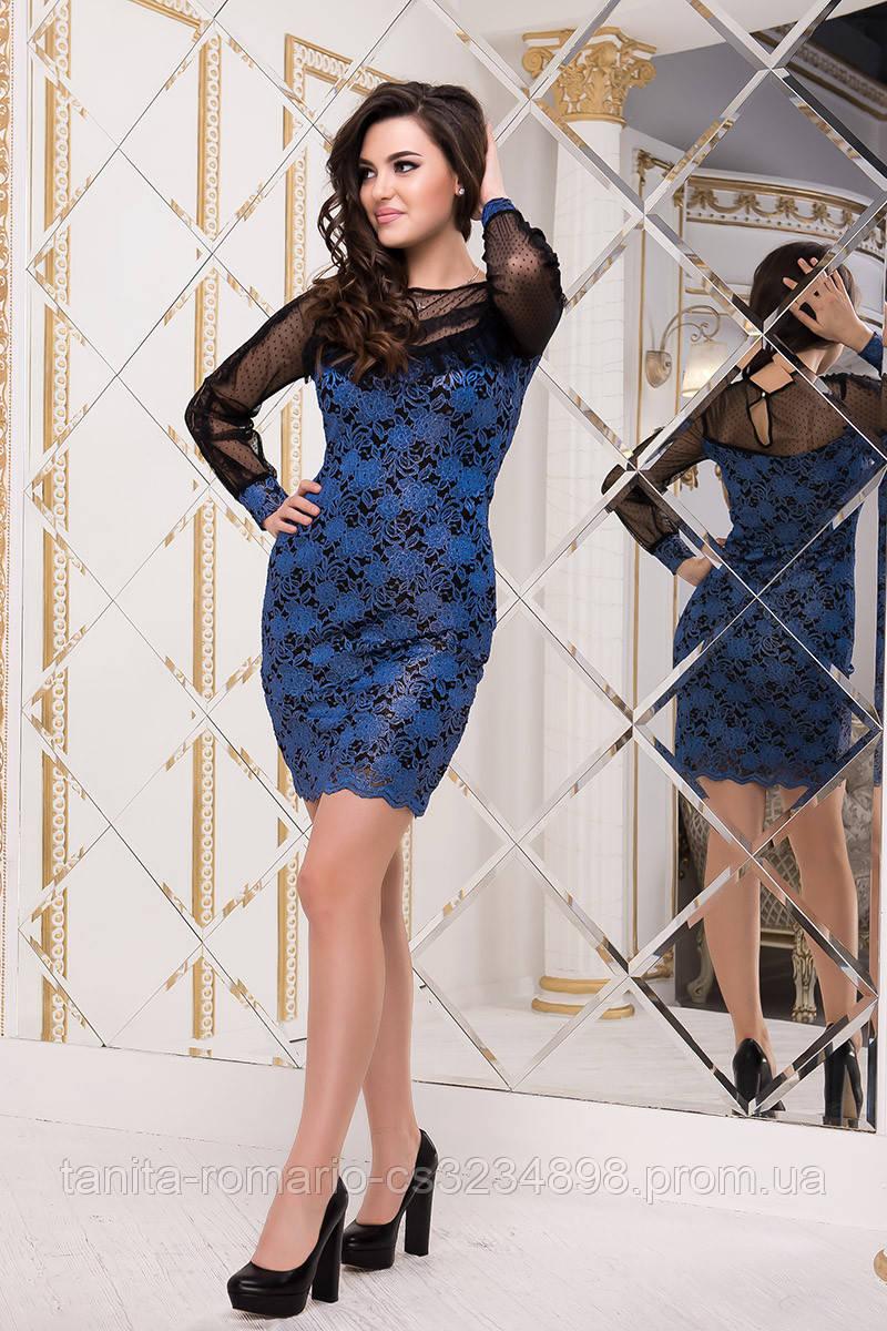 Коктейльное платье 8229e Электрик  S M L
