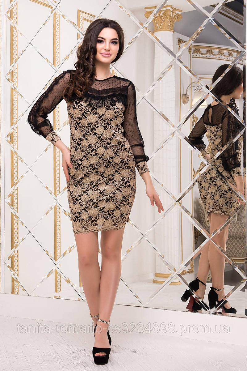 Коктейльное платье 8229e Золотой  S M L
