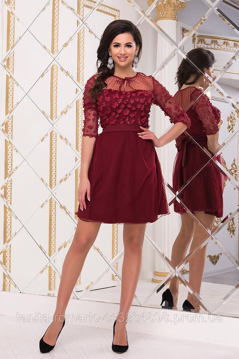 Коктейльное платье 8248e Бордо  S M L