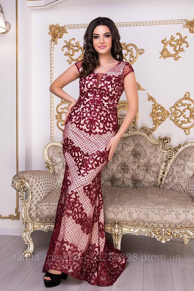 Вечірня сукня годе з вишивкою бордового  кольору