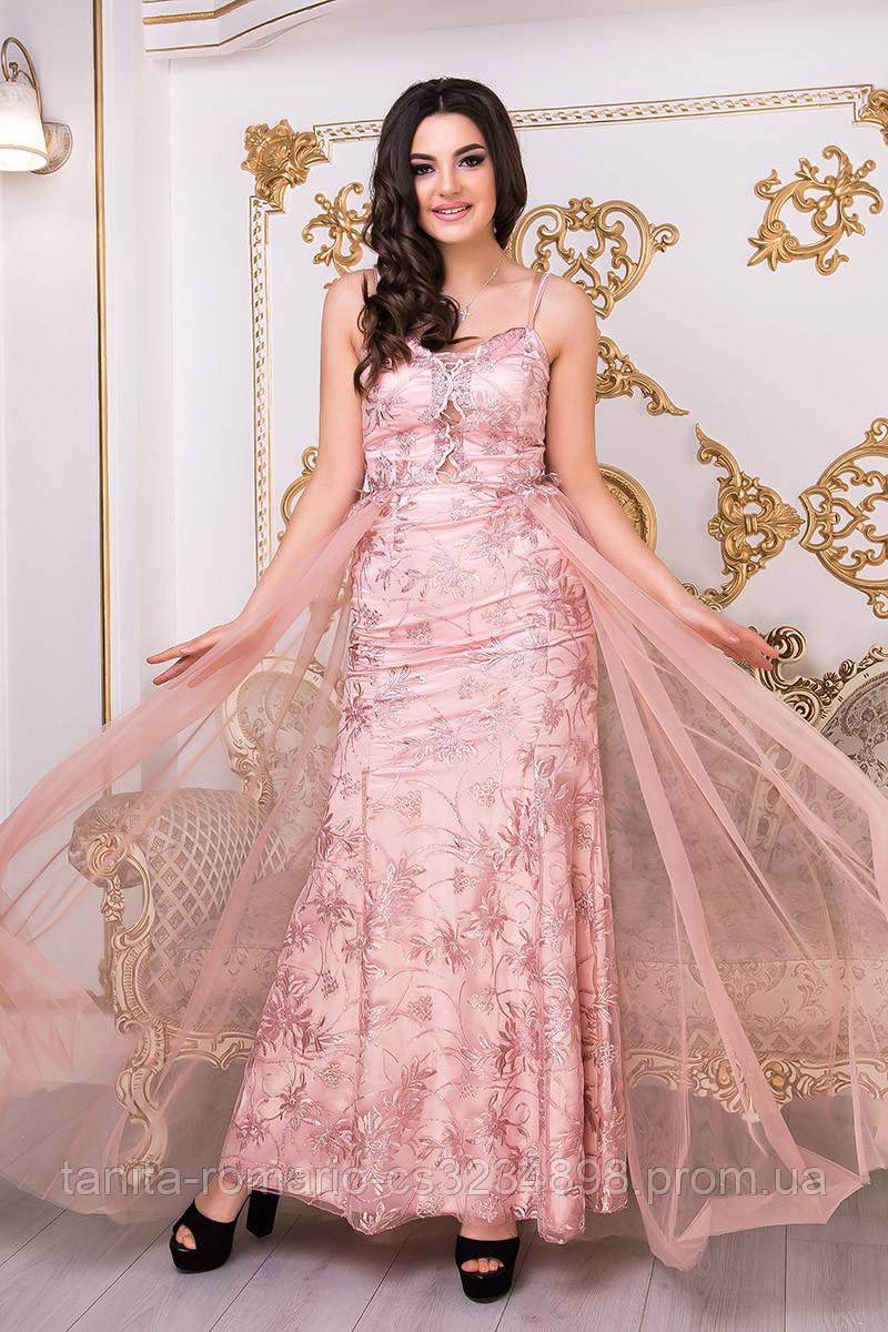 Коктейльное платье 9002e Фрезовый  S M L