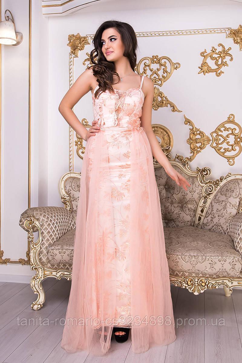 Коктейльное платье 9002e Персиковый  S M L