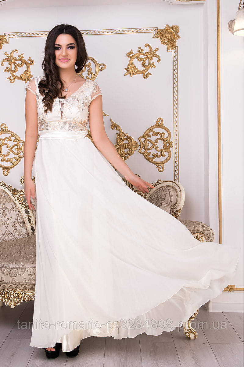 Вечернее платье 9003e Молочный M(р)