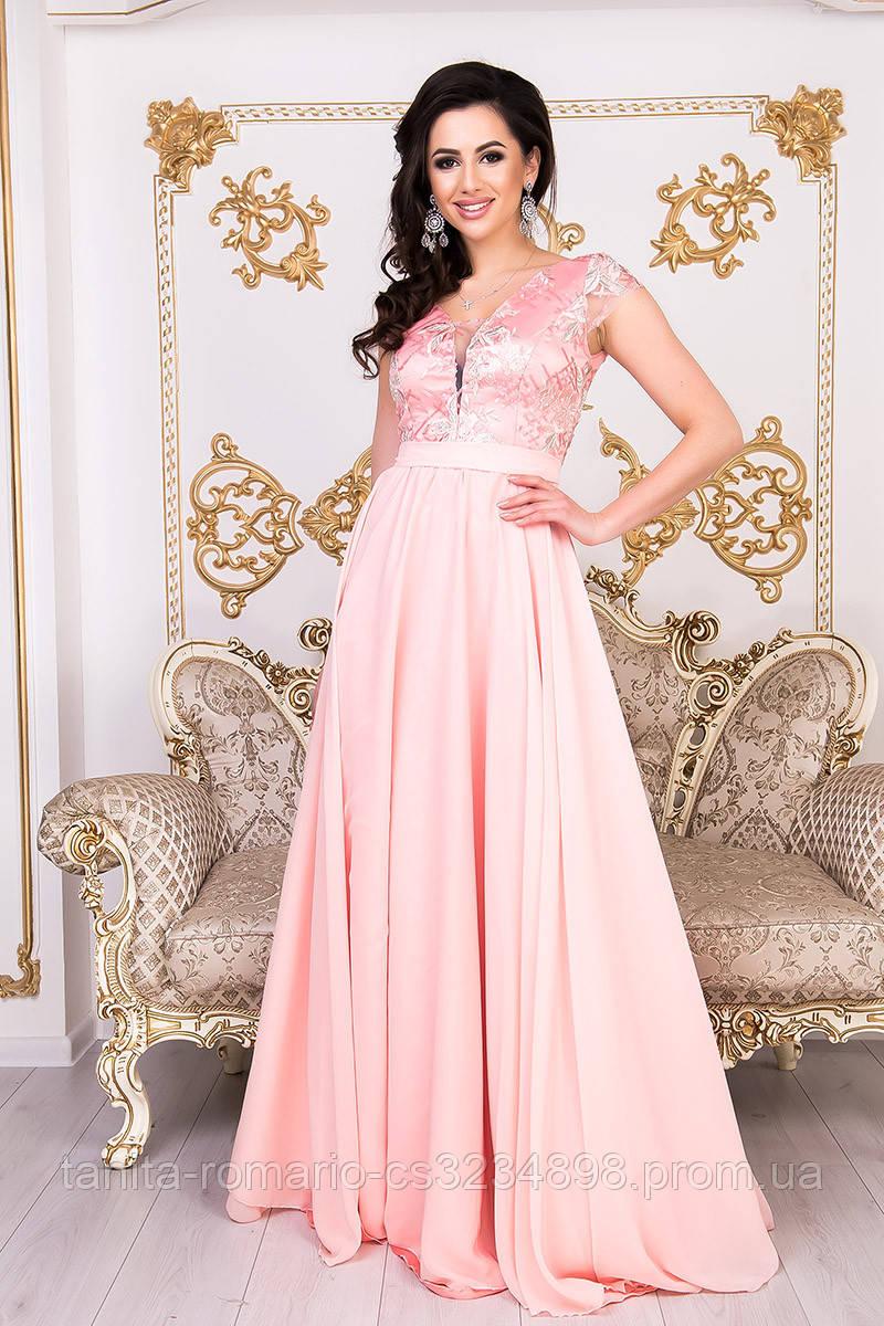 Сукня з ніжного атласу і мереживом рожевого кольору