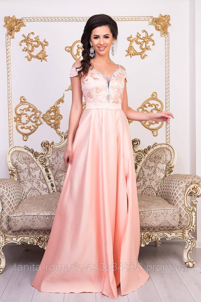 Вечернее платье 9008e Персиковый  S M L