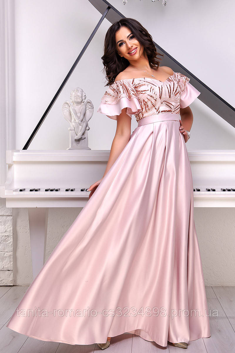 Вечернее платье 9018e Розовый  S M L