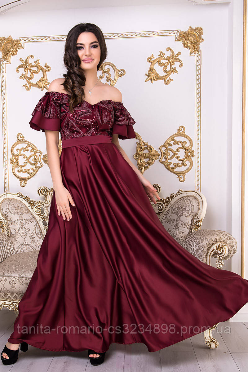 Вечернее платье 9018e Бордо M(р)