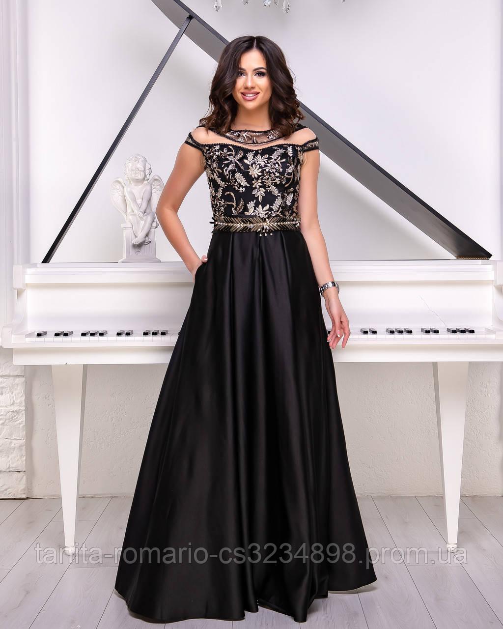 Вечернее платье 9011e Чёрный/золото  S M L