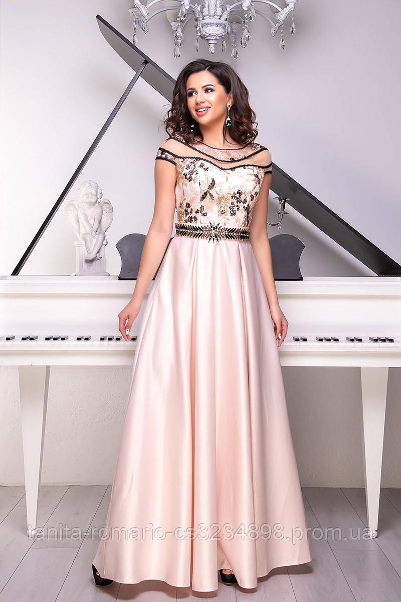 Вечернее платье 9011e Персиковый  S M L
