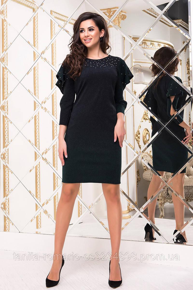 Коктейльное платье 8213e Градиент/изумруд  S M L