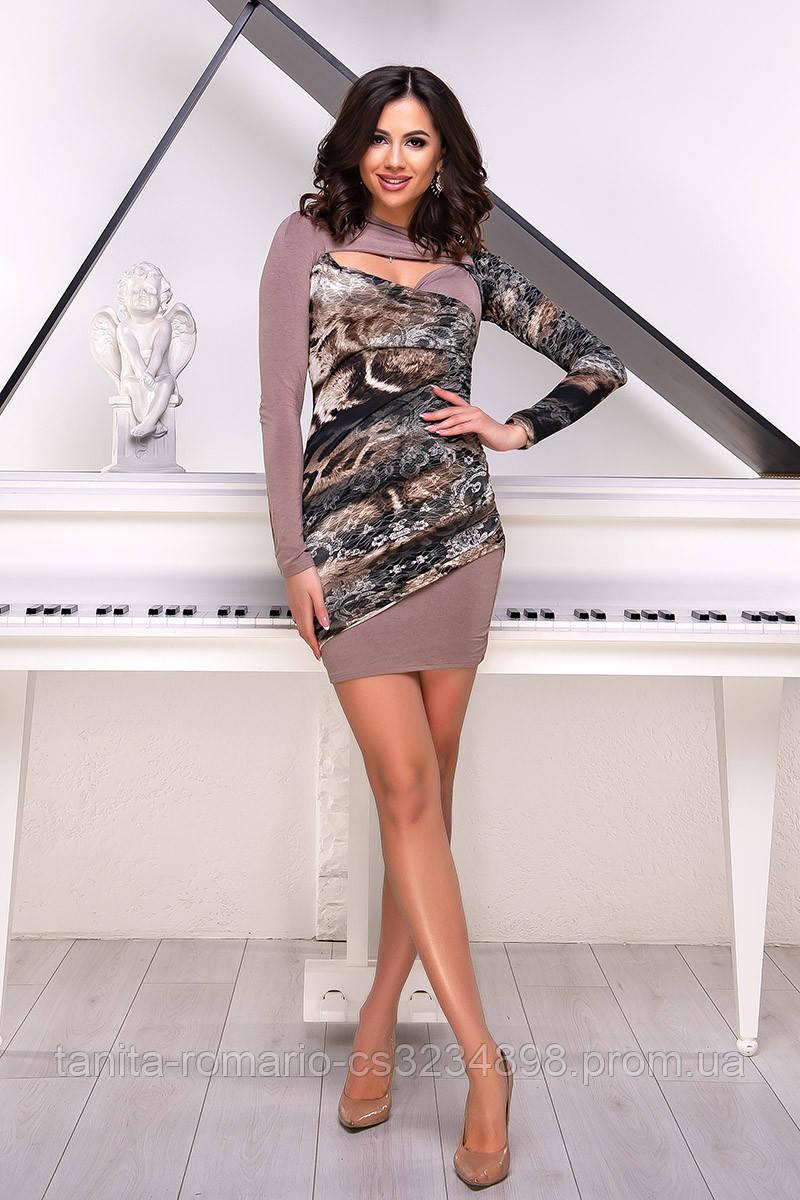 Коктейльное платье 1222e Коричневый  S M L