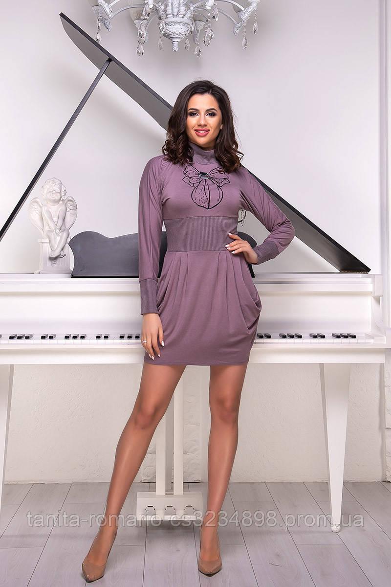 Повседневное платье 1213e Фрезовый  S M L