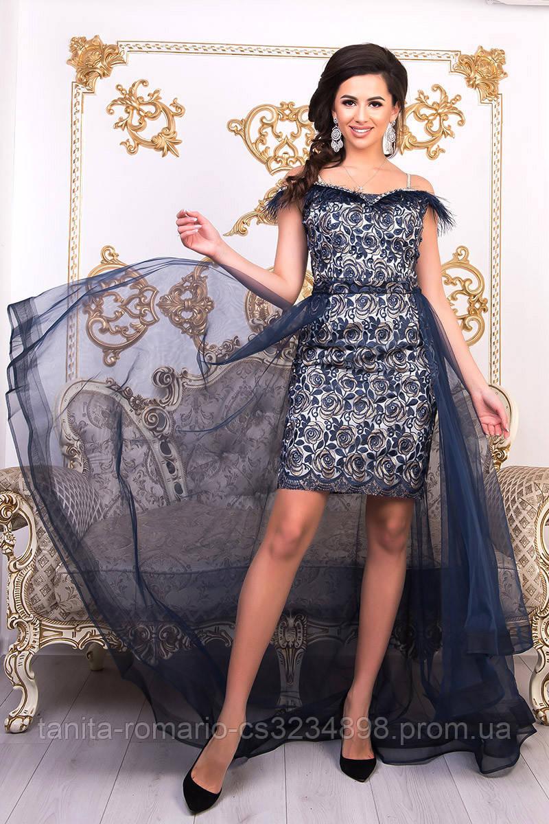 Вечернее платье 9019e Синий  S M L