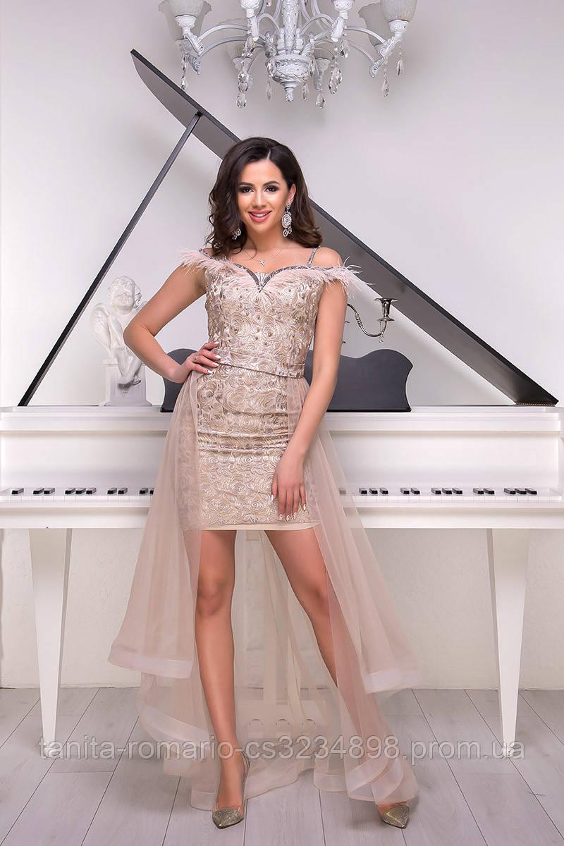 Вечернее платье 9019e Бежевый  S M L