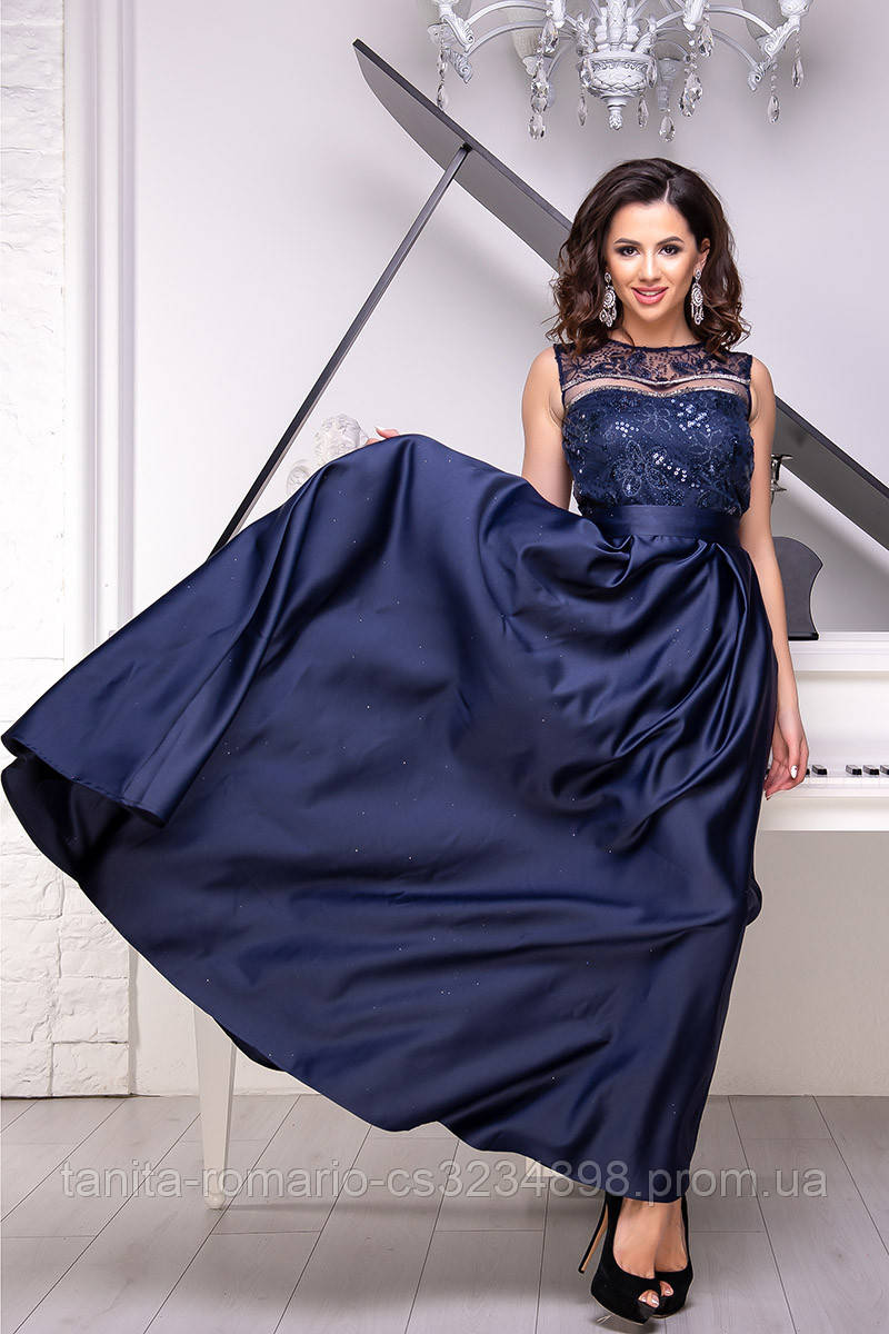 Вечернее платье 9032e Синий  S M L
