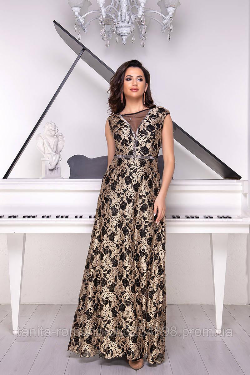 Вечернее платье 9026e Бежевый  S M L
