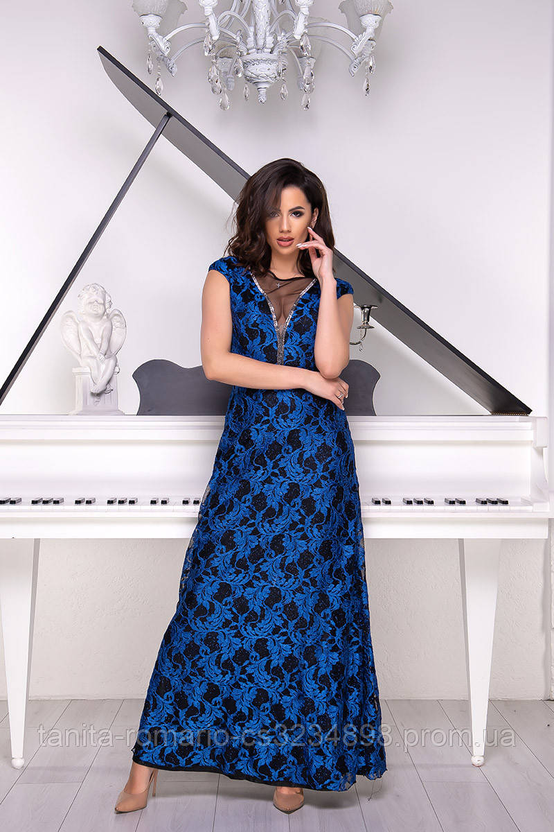 Вечернее платье 9026e Электрик  S M L