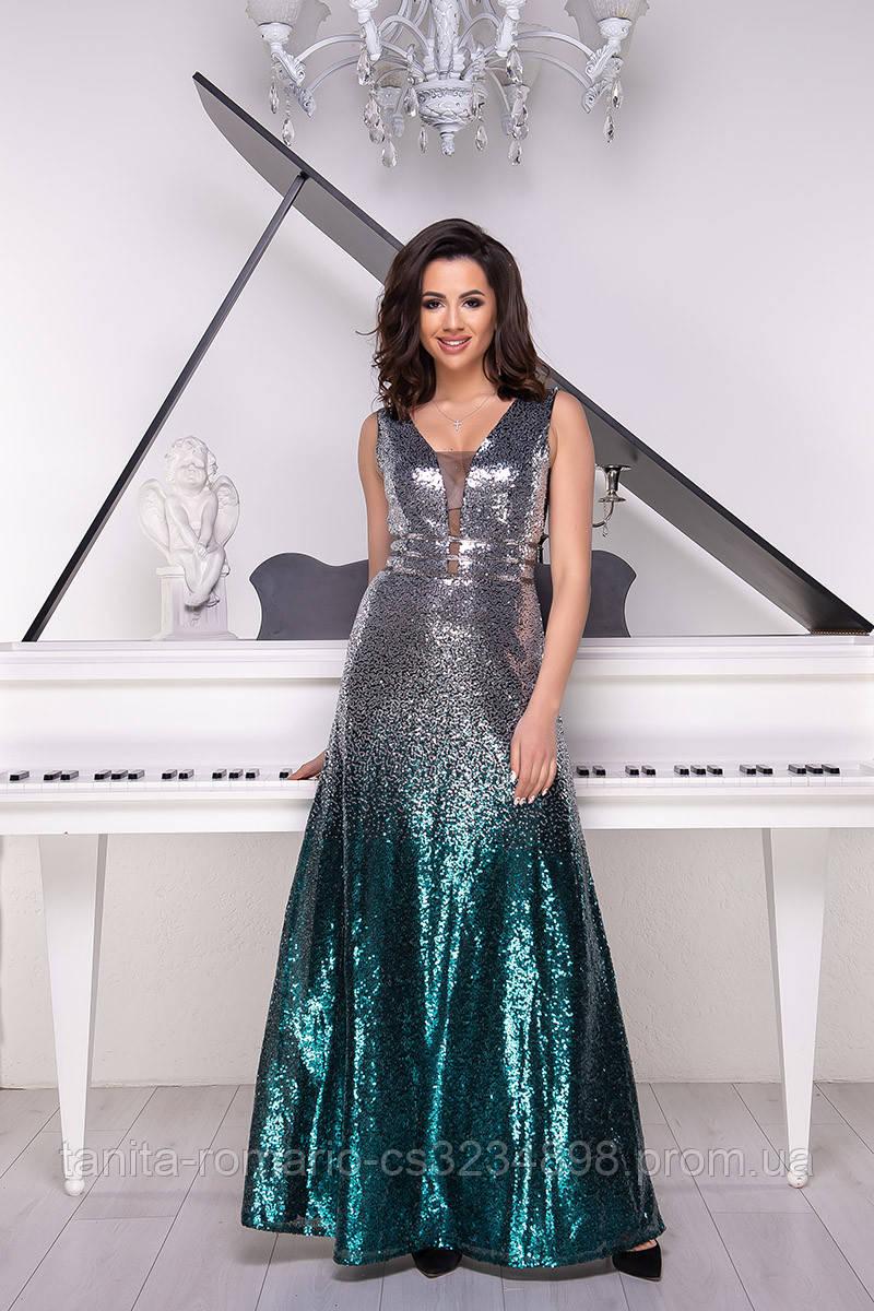 Вечернее платье 9024e Изумруд/серебро  S M L
