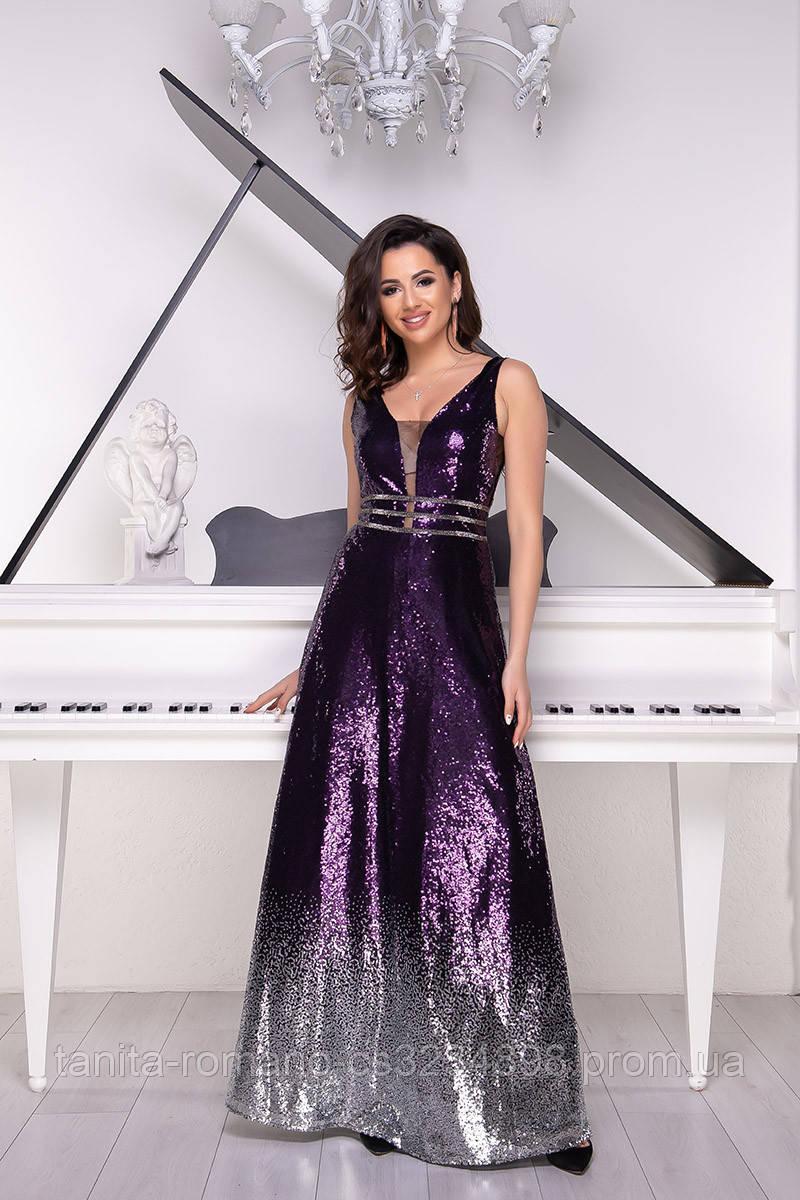Вечернее платье 9024e Фиолет/серебро L(р)