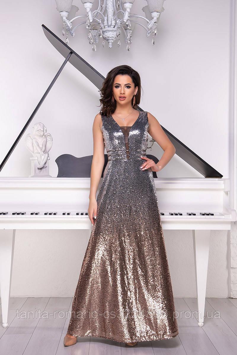 Вечернее платье 9024e Беж/серебро S(р)