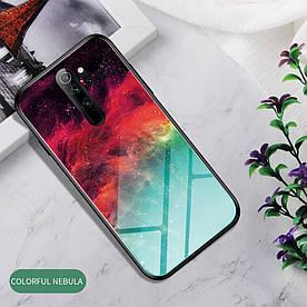 Чехол накладка для Xiaomi Redmi Note 8 Pro с зеркальной поверхностью, Colorful Nebula